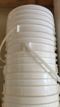 white plastic bucket collection