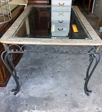 Cast iron table with marble and glass top, with 6 chairs Seminole, 33772