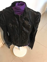 Black leather zip-up jacket