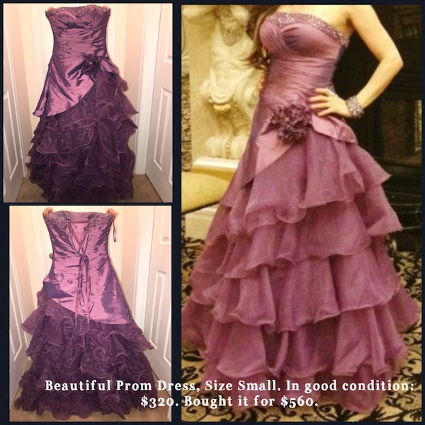Women's purple strapless  dress