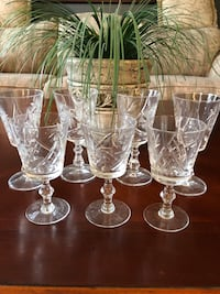 Pinwheel crystal wines glasses. 4 big, 3 small Brampton, L6S 4X6