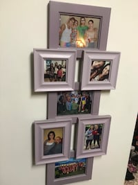 Purple wooden photo collage frame