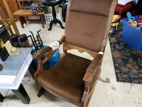 Gorgeous Victorian Oak and Velvet Rocking Chair Three Oaks, 49128