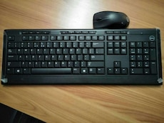 black Dell wireless computer keyboard and mouse