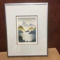 landscape mountain and lake painting
