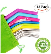 Reusable Straws Stainless Steel Straws Silicone Straws Set of 12 Packs in Different Size Drinking Straws for YETI & RITC Perfect Smoothie Straws  Monterey Park, 91754