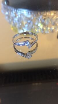 STAMPED (10k Libco) Diamond and silver ring