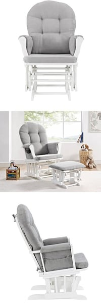 Angel Line Windsor Glider and Ottoman White Finish and Gray Cushions , SKU# 59192 Santa Fe Springs