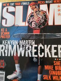 Signed Kenyon Martin Nets Slam magazine