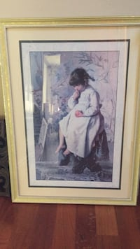 woman in white dress painting with brown wooden frame San Carlos, 94070