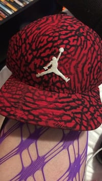 black and red Air Jordan fitted cap