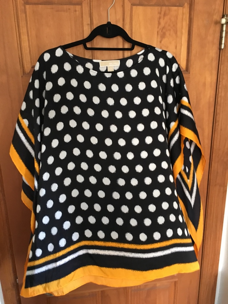 Black and white polka dotted scoop neck blouse Michael Kors  size large