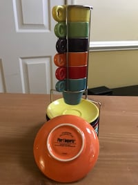Colorful stacking espresso mugs set with saucer Springfield, 22152