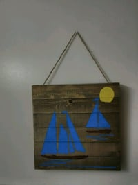 Hanging sailboat sign 12x12 made by me Wilmington, 28403