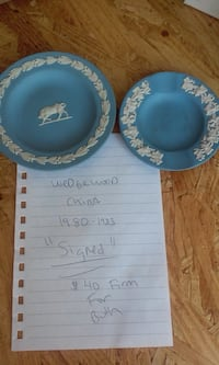 two blue ceramic plates and bowls 487 mi
