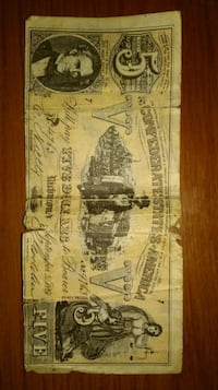 The Confederate States of America $5 bill Kingsport, 37660