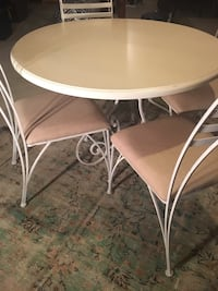 round white wooden table with four chairs dining set Aurora, L4G 4X5