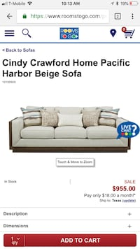 Gray and black cindy crawford home pacific harbor beige sofa screenshot Sachse, 75048