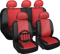 Red black leather car seat