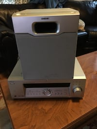 Gray sony stereo player and subwoofer Ben Avon, 15202