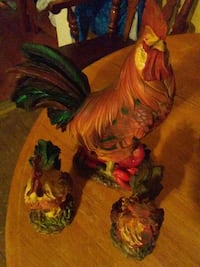 brown, green, and red ceramic rooster figurine Louisa, 23093