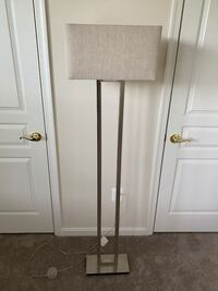 Floor Lamp with Silver Base and Linen Shade FREDERICK