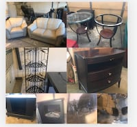 Multiple household and furniture items for sale- starting at $25 each. Leather loveseat/chair set, end tables, nightstand, electric fireplace, stationary bike, Inversion Table, metal shelf. All must be removed from our garage today. Getting at $25 each an Peoria, 85382