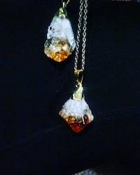 Citrine crystal goldplated necklaces
