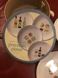 Gourmet Wine & Cheese Porcelain Plates