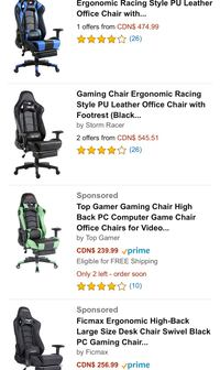 STORM RACER GAMING CHAIR  Toronto