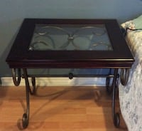 square black wooden framed clear glass-top nightstand SALABERRYDEVALLEYFIELD