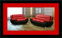 Red/black sofa and loveseat 2pc set Herndon, 20171