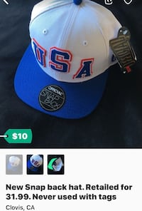 white and blue USA snapback hat screenshot Clovis, 93619