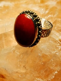 Red Coral large stone, filigree sterling silver ring, $75.