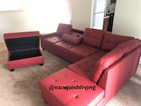 Red Leather Reversible Sectional Sofa Cup Holders Storage Ottoman Humble, 77396