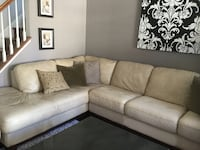 Cream Leather Sectional, Chair, and Ottoman Leesburg, 20176