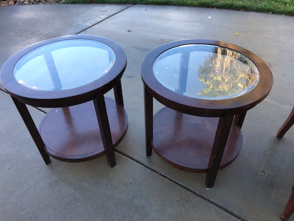 Round Brown Wooden Framed Gl Top Coffee Tables