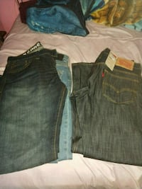two blue and gray denim bottoms Mission, 78572