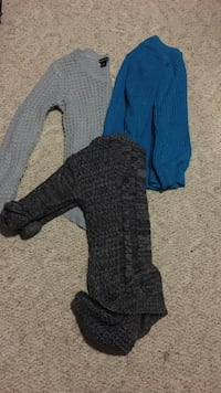 several assorted color knit sweaters; Wet Seal, JJ Banks, and Rue 21