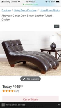Brown leather tufted chaise Jessup, 20794