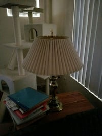 brown wooden table lamp with brown lampshade 1935 mi