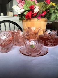 VINTAGE ARCOR FRANCE DEPRESSION GLASS PINK SET OF 14 Skokie, 60077