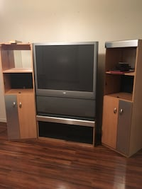 Brown and white wooden tv hutch 760 mi