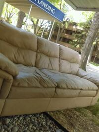 Leather couch and chair, beige  Edmonton, T5H 0S6