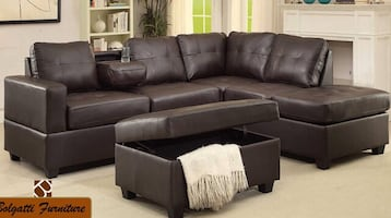 Sectional bonded leather sofa set