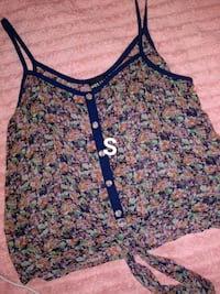 women's black and pink floral spaghetti strap top El Paso, 79915
