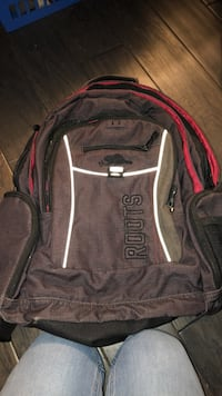 black and red The North Face backpack 601 km