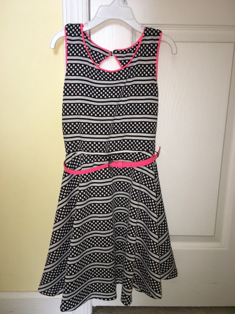 Girls black and white dress with hot pink belt