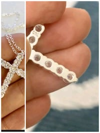 925 stamped cz cross and chain