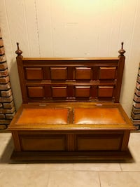 Wood & Leather Chest Seat Putnam Valley